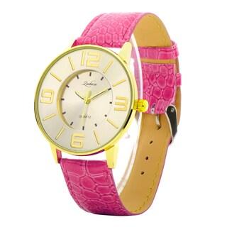 Zodaca Women Lady Fashion Hot Pink Leather Gold 40mm Dial Band Analog Quartz Casual Watch