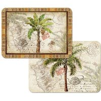 Counterart Reversible Plastic Wipe Clean Placemats - West Indies Palm (Set of 4)