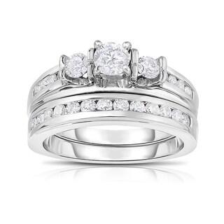14k White Gold 1ct TDW Certified Diamond Wedding Set (D-E, I1-I2)