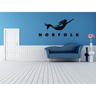 Norfolk Skyline City Mermaid Wall Art Sticker Decal