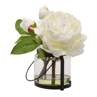 Blossom Collection 8.5-inch White Peony Cutting in Vase