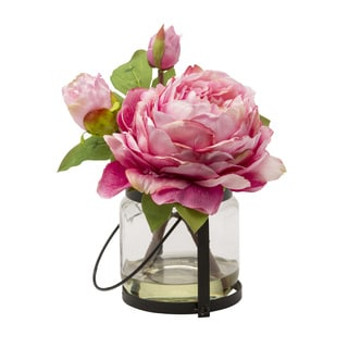 Blossom Collection 8.5-inch Peony Cutting in Vase