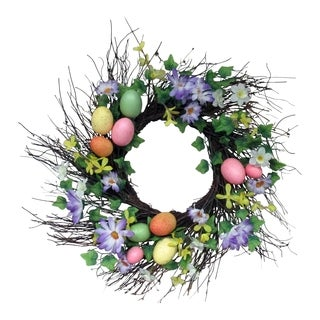 Spring Collection 22-inch Spiral Egg Wreath