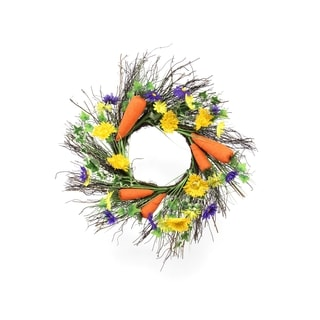 Spring Collection 22-inch Spiral Vine and Carrot Wreath