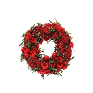 Spring Collection 16-inch Curled Wood Rose and Boxwood Wreath