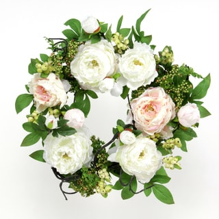 White Blossom Collection 20-inch Peony Wreath