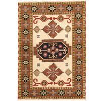 Herat Oriental Indo Hand-knotted Tribal Kazak Wool Rug - 4'2 x 6'