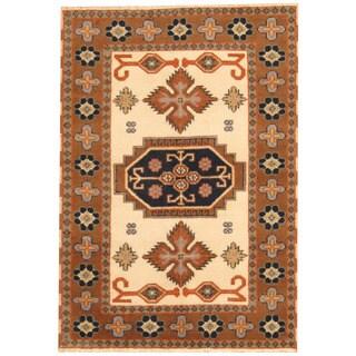 Herat Oriental Indo Hand-knotted Tribal Kazak Ivory/ Light Brown Wool Rug (4'2 x 6')