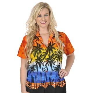 La Leela Women's Likre Orange Palm Tree Printed Hawaiian Shirt