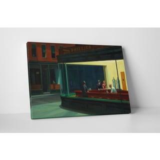Edward Hopper 'Nighthawks' Gallery Wrapped Canvas Wall Art - Green