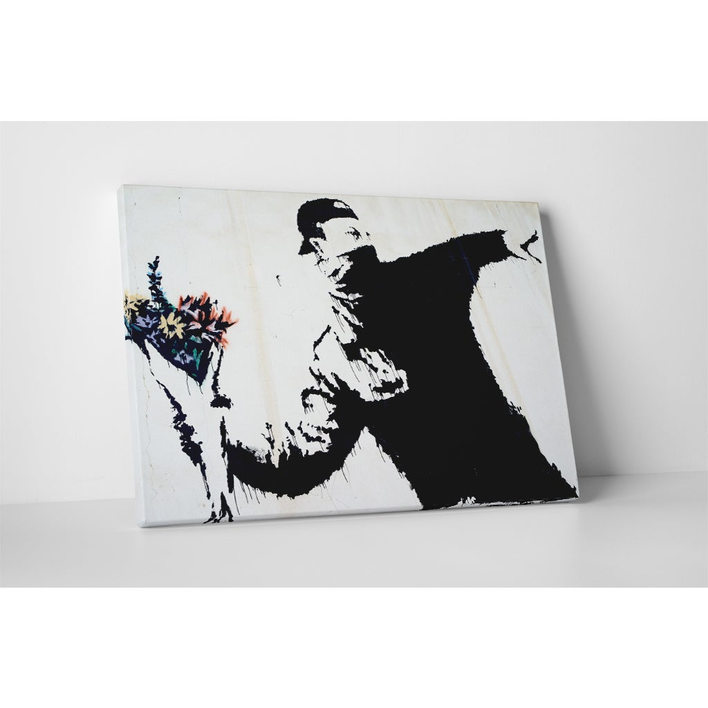 Banksy 'Flower Thrower' Gallery Wrapped Canvas Wall Art (...