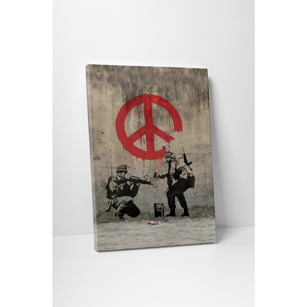 Banksy 'Peace Sign Soldiers' Gallery Wrapped Canvas Wall ...