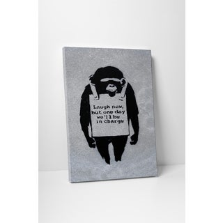 Banksy 'Monkey with Sign' Gallery Wrapped Canvas Wall Art