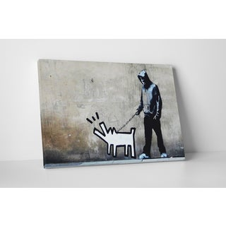 Banksy 'Dog Walker' Gallery Wrapped Canvas Wall Art