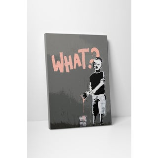 Banksy 'What?' Gallery Wrapped Canvas Wall Art