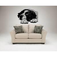 Saint Bernard Dog Lying Wall Art Sticker Decal