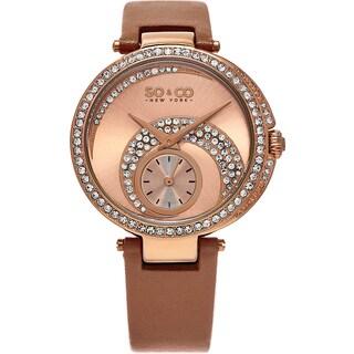 SO&CO New York Women's Madison Quartz Tan Leather Strap Crystal Watch