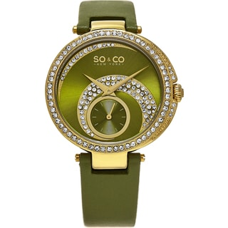 SO&CO New York Women's Madison Quartz Green Leather Strap Crystal Watch