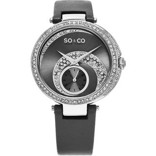 SO&CO New York Women's Madison Quartz Grey Leather Strap Crystal Watch