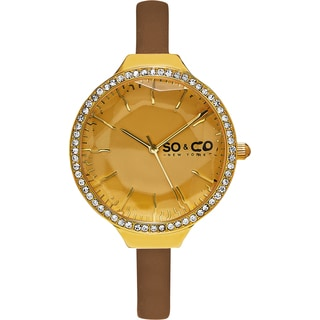 SO&CO New York Women's SoHo Quartz Brown Leather Strap Crystal Watch