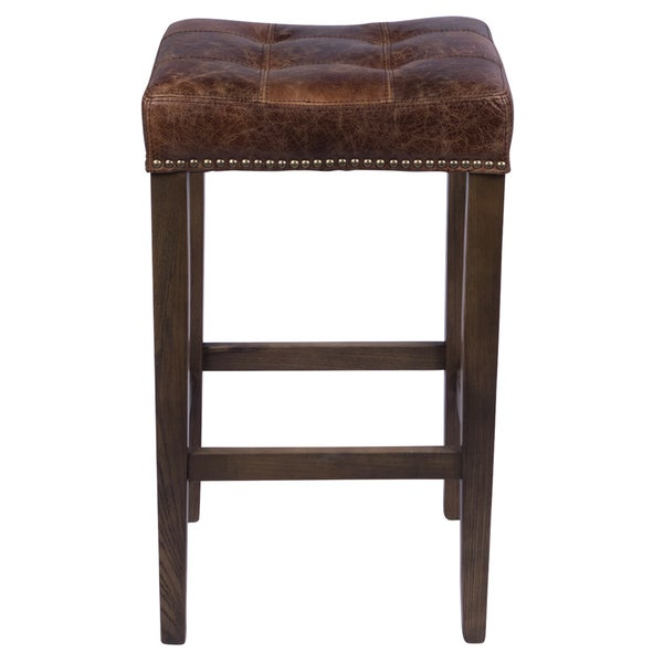Nashville Vintage Leather 26 Inch Nailhead Counter Stool