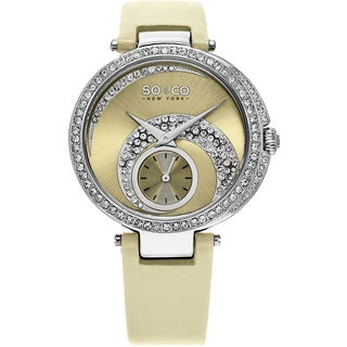 SO&CO New York Women's Madison Quartz Ivory Leather Strap Crystal Watch