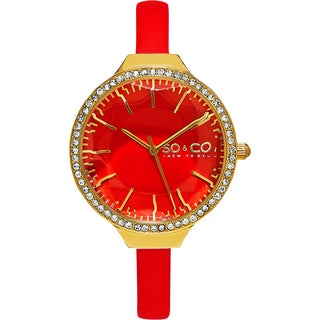 SO&CO New York Women's SoHo Quartz Coral Leather Strap Crystal Watch