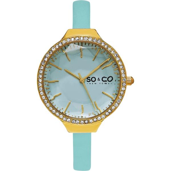 SO&CO New York Women's SoHo Quartz Light Blue Leather Strap Crystal Watch
