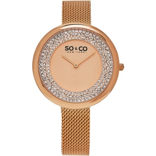 SO&CO New York Women's SoHo Quartz Rosetone Mesh Bracelet Crystal Watch