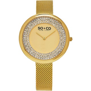 SO&CO New York Women's SoHo Quartz Goldtone Mesh Bracelet Crystal Watch
