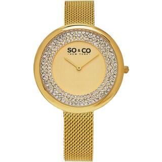 SO&CO New York Women's SoHo Quartz Goldtone Mesh Bracelet Crystal Watch