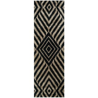 Rizzy Home Gillespie Avenue Black/ Beige Hand-tufted Wool Accent Runner Rug (2'6 x 8')