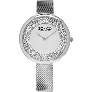 SO&CO New York Women's SoHo Quartz Stainless Steel Mesh Bracelet Crystal Watch