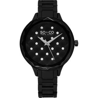 SO&CO New York Women's Madison Quartz Black Stainless Steel Bracelet Crystal Watch