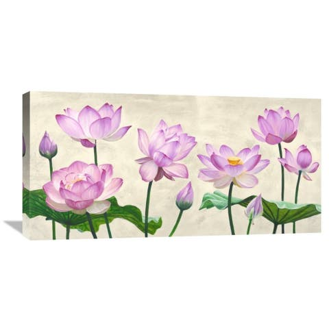 Global Gallery Shin Mills 'Lotus Flowers' Stretched Canvas Artwork - Pink