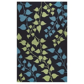 "Rizzy Home Azzura Hill Collection Teal Floral Area Rug - 3'6"" x 5'6"""