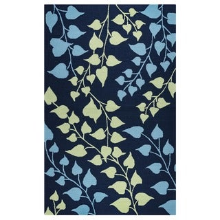 "Rizzy Home Azzura Hill Collection Teal Floral Area Rug (3'6 x 5'6) - 3'6"" x 5'6"""