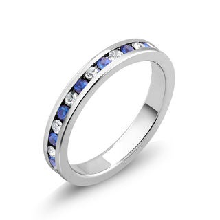 Rhodium-plated Brass Cubic Zirconia and Sapphire Eternity Band