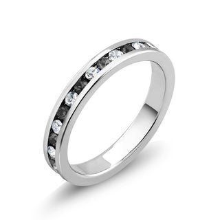 Rhodium Plated Brass Cubic Zirconia Black Eternity Band