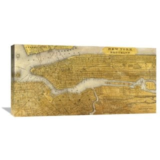 Global Gallery Joannoo 'Gilded Map of NYC' Stretched Canvas Artwork
