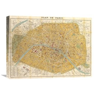 Global Gallery Joannoo 'Gilded Map of Paris' Stretched Canvas Artwork