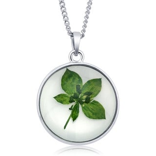 Sterling Silver Round Glass with Dried Leaf Flowers Necklace