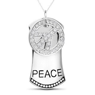 Sterling Silver Cubic Zirconia Peace Sign and Dog Tag Pendant