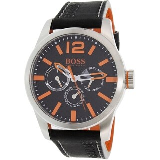 Hugo Boss Men's Black Leather Orange 1513228 Quartz Watch