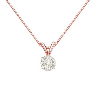 Buy solitaire diamond necklaces online at overstock our best auriya 14k gold 13ct tdw round cut diamond solitaire necklace aloadofball Images