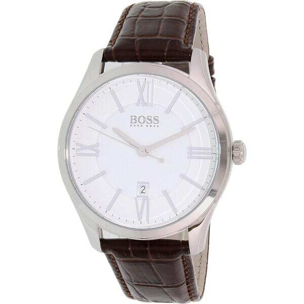 74b4376ab Shop Hugo Boss Men's Brown Leather Ambassador Quartz Watch - Free Shipping  Today - Overstock - 11342461