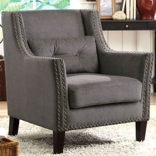 Harvard Madrid Design Decorative Grey Wing Accent Chair with Nail Head Trim