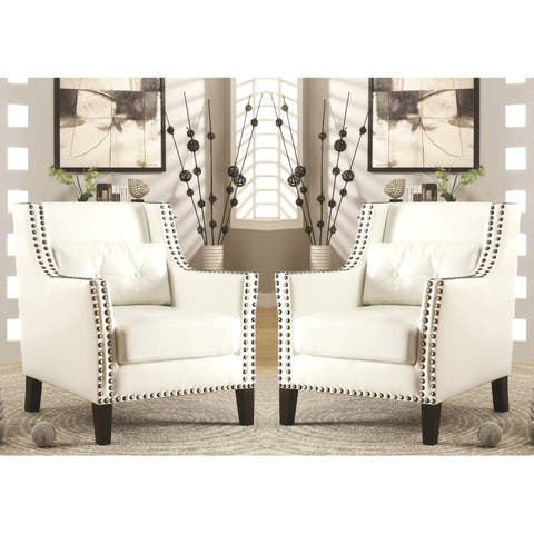 Harvard Madrid Design Decorative Cream/ White Wing Accent Chair with Nail Head Trim