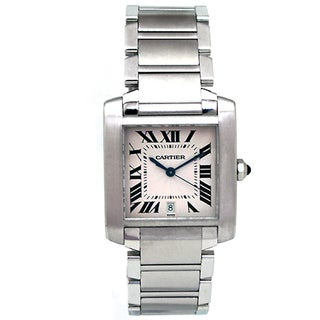 Pre-owned Cartier Large Stainless Steel W51002Q3 Tank Francaise Watch