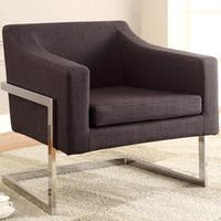 Zoli Mid Century Modern Design Grey Upholstered Accent Chair with Chrome Base
